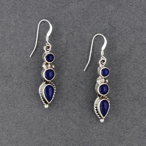 Sterling Silver 3 Stone Lapis Earrings