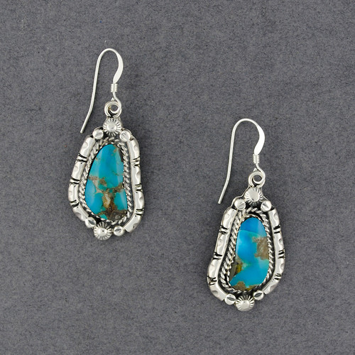 Sterling Silver Oblong Turquoise with Border Earrings