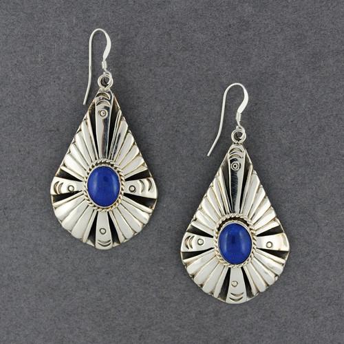 Sterling Silver Detailed Teardrop Lapis Earrings