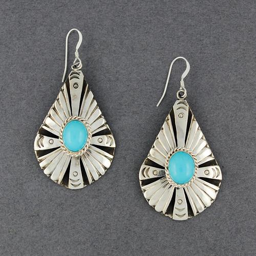 Sterling Silver Detailed Teardrop Turquoise Earrings