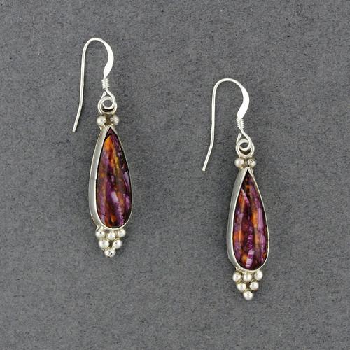 Sterling Silver Purple Spiny Oyster Teardrop Earrings