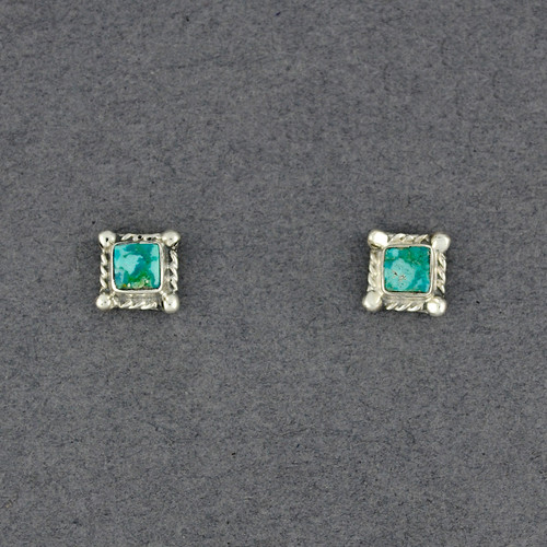 Sterling Silver Turquoise Square Post Earrings