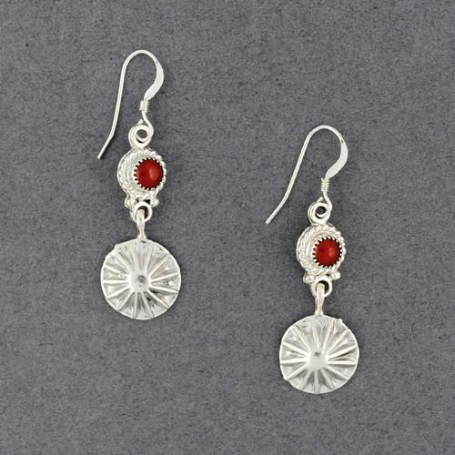 Sterling Silver Coral and Star Earrings