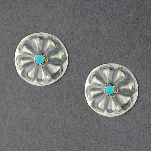 Sterling Silver Turquoise Flower Post Earrings