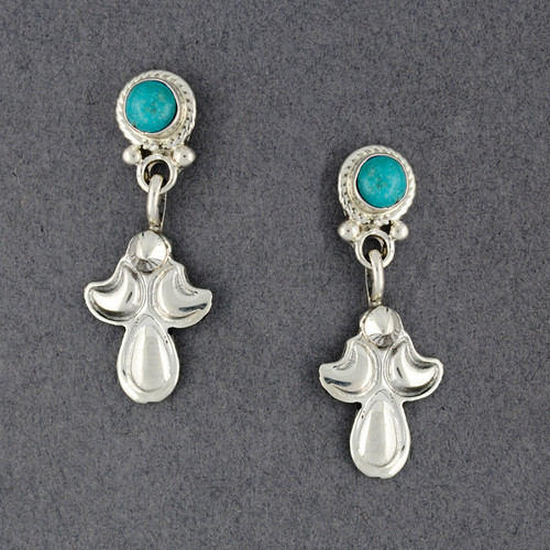 Sterling Silver Turquoise Post with Dangle Earrings