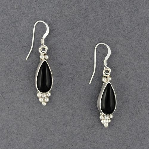 Sterling Silver Onyx Dotted Teardrop Earrings