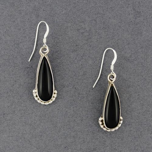 Sterling Silver Large Onyx Teardrop Earrings