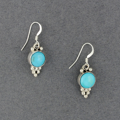 Sterling Silver Turquoise Dotted Circle Earrings