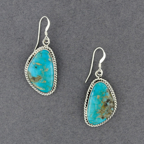 Sterling Silver Large Turquoise Triangle Earrings