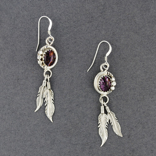 Sterling Silver Purple Spiny Oyster with Feathers Earrings