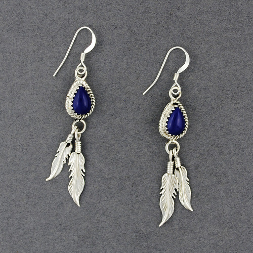 Sterling Silver Lapis with Feathers Earrings