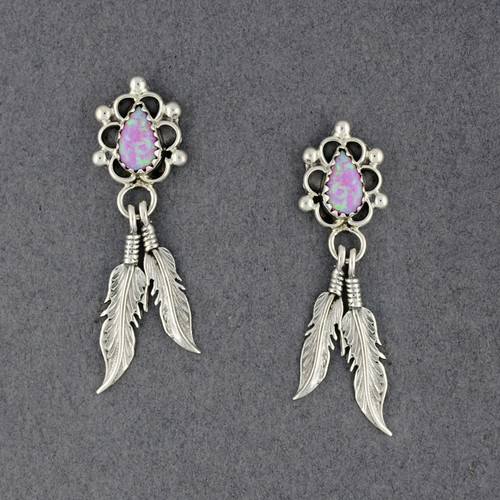 Sterling Silver Pink Opal with Feathers Earrings