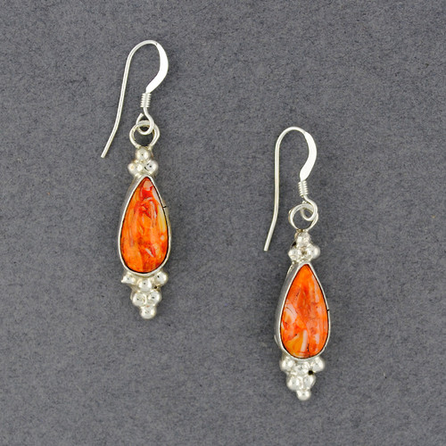 Sterling Silver Spiny Oyster Dotted Teardrop Earrings