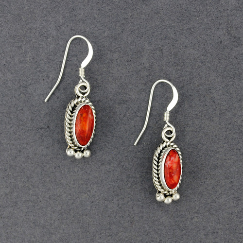 Sterling Silver Spiny Oyster Oval Earrings