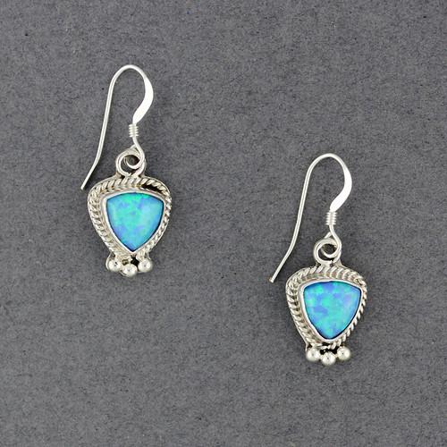 Sterling Silver Opal Triangle Earrings
