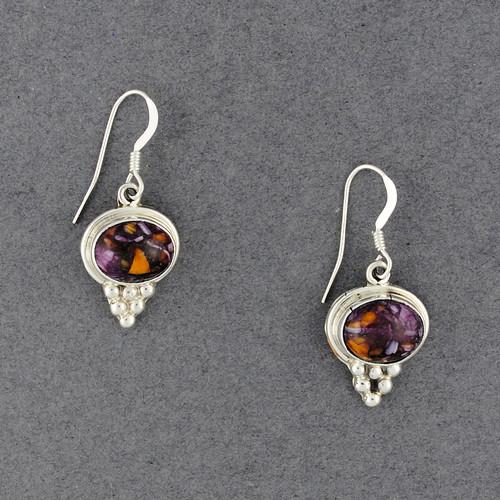 Sterling Silver Purple Spiny Oyster Oval Earrings
