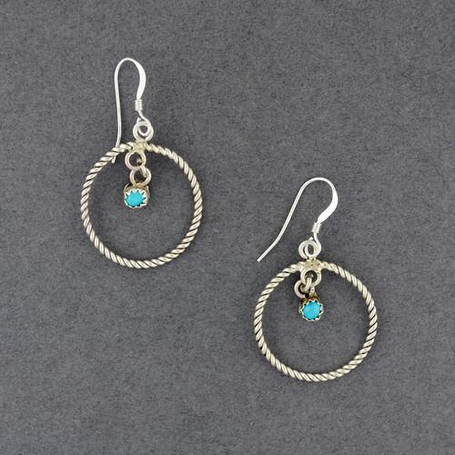 Sterling Silver Turquoise in Hoop Earrings