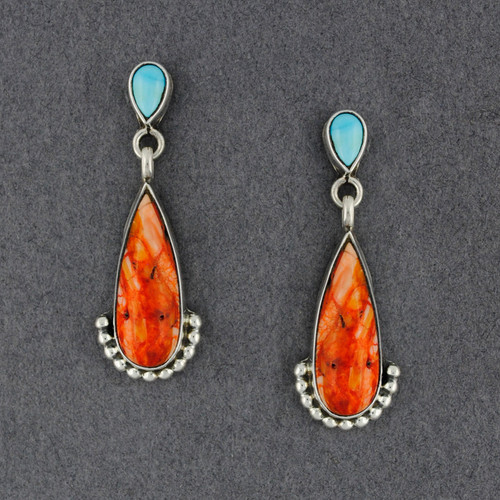 Sterling Silver Spiny Oyster and Turquoise Teardrop Post  Earrings
