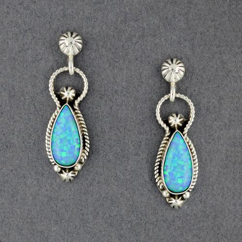 Sterling Silver Opal Teardrop Post Dangle Earrings