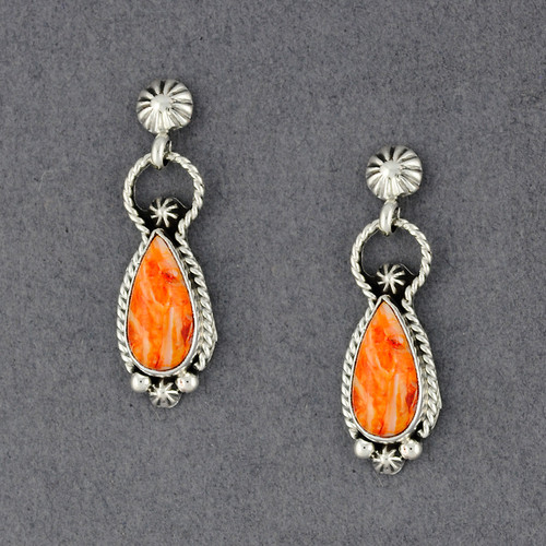 Sterling Silver Spiny Oyster Teardrop Post Dangle Earrings