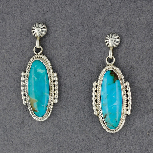 Sterling Silver Turquoise Oval Post Dangle Earrings