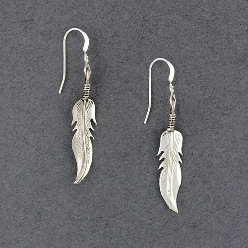 Sterling Silver Native American Feather Earrings