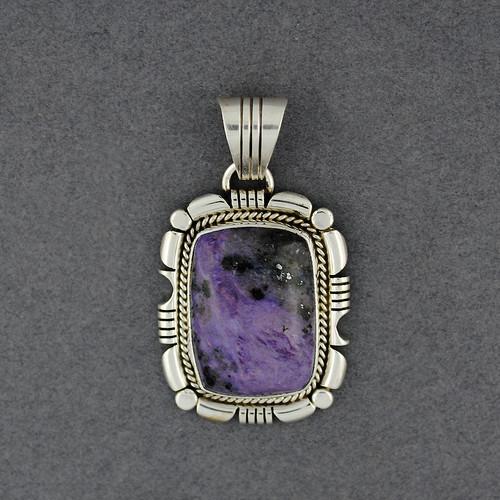 Sterling Silver Charoite Ornate Bezel Pendant