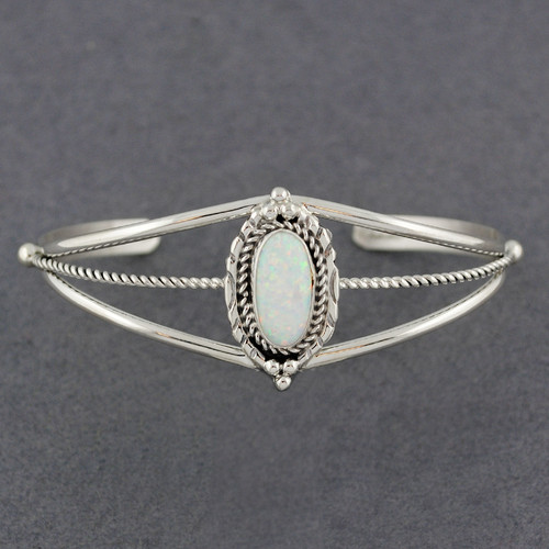 Sterling Silver Large White Opal with Twists Cuff