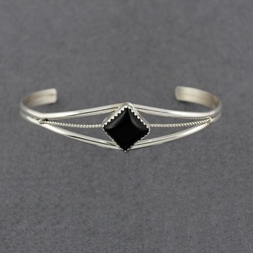 Sterling Silver Small Onyx Diamond Cuff