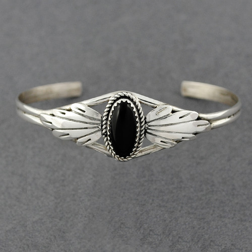 Sterling Silver Onyx Oval Cuff with Flourish Design