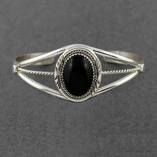 Sterling Silver Onyx Oval Cuff with Twist Design