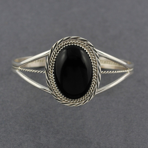 Sterling Silver Large Onyx Oval Cuff with Twist Design