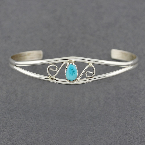 Sterling Silver Small Turquoise Cuff with Swirls Design