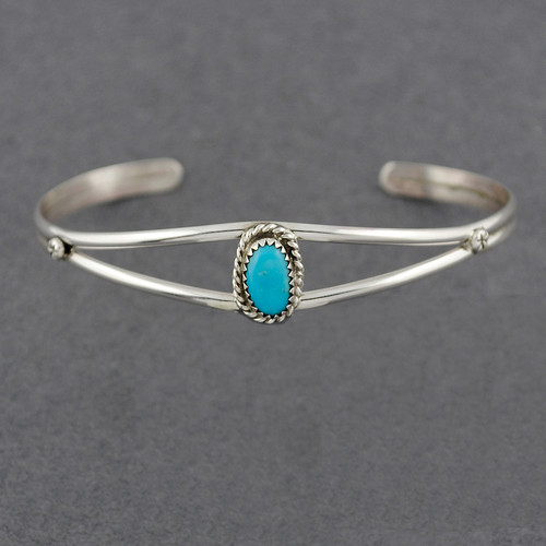 Sterling Silver Small Turquoise Cuff with Twist Bezel Design