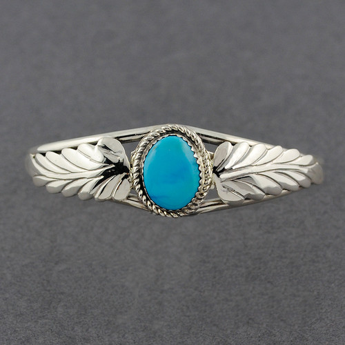 Sterling Silver Turquoise Cuff with Flourish Design