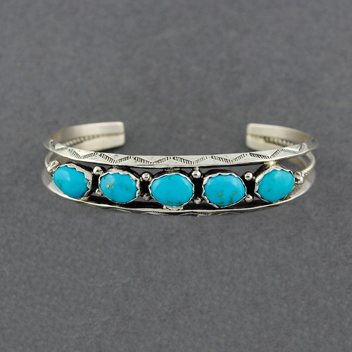 Sterling Silver Large 5 Stone Turquoise Cuff