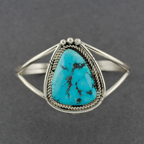 Sterling Silver Large Turquoise Triangle Cuff