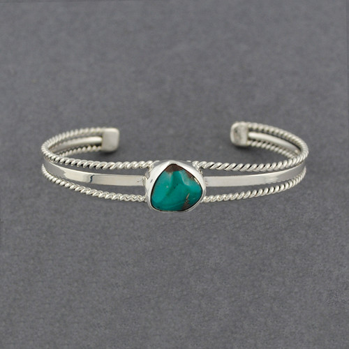 Sterling Silver Turquoise Double Twist Cuff