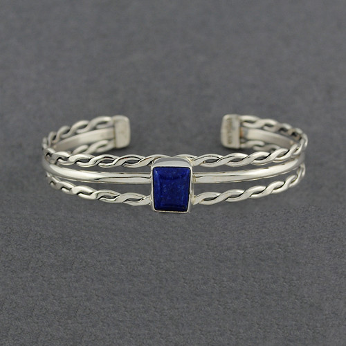 Sterling Silver Square Lapis Double Flat Twist Cuff