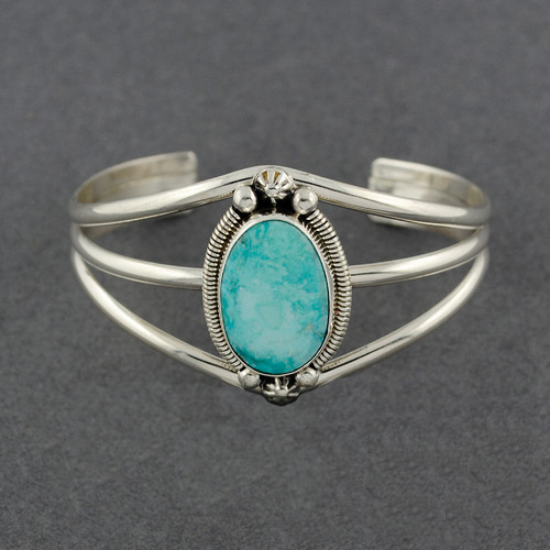 Sterling Silver Oval Turquoise Detailed Bezel Cuff