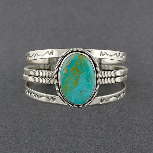 Sterling Silver Large Oval Turquoise Twist Detailed Cuff
