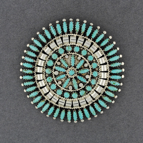 Sterling Silver Turquoise Petit Point Pin / Pendant