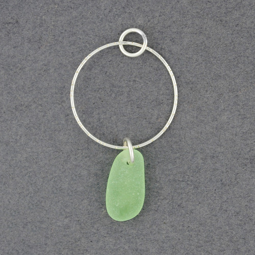 Sterling Silver Hoop Drop Sea Glass Pendant