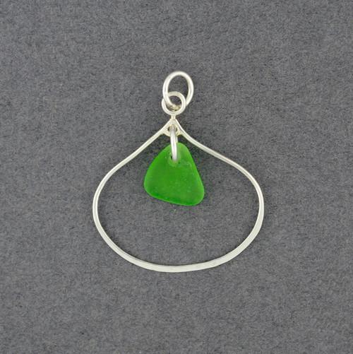 Sterling Silver Open Drop Sea Glass Pendant