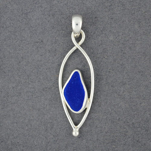 Sterling Silver Droplet Sea Glass Pendant