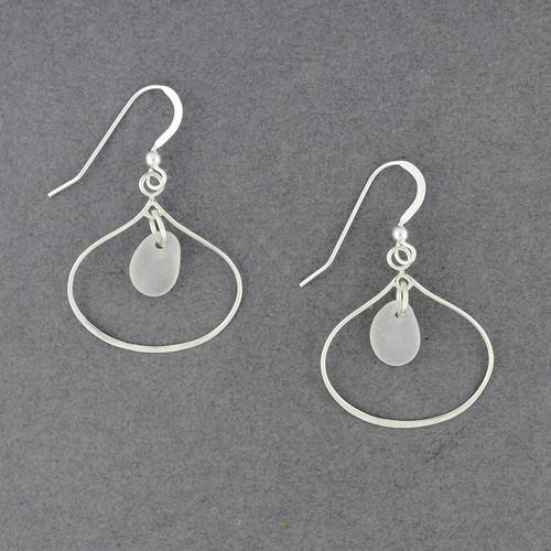 Sterling Silver Open Drop Sea Glass Earrings