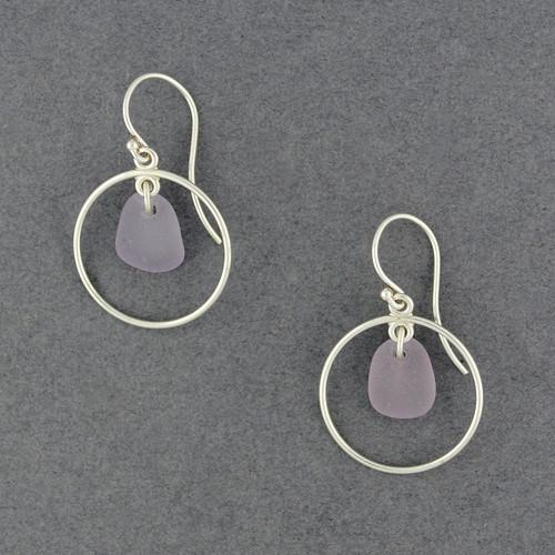 Sterling Silver Purple Sea Glass Hoops
