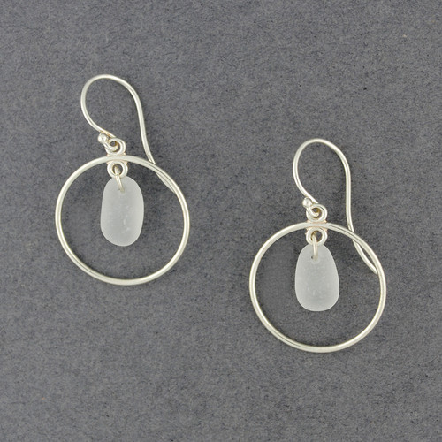 Sterling Silver White Sea Glass Hoops