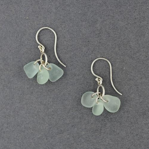 Sterling Silver Aqua Sea Glass Bauble Earrings