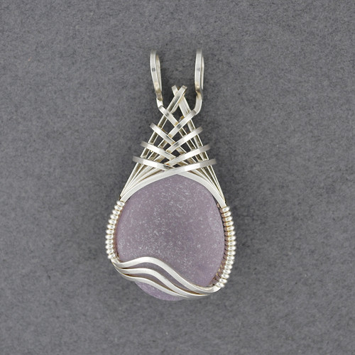 Sterling Silver Purple Sea Glass Weave Pendant